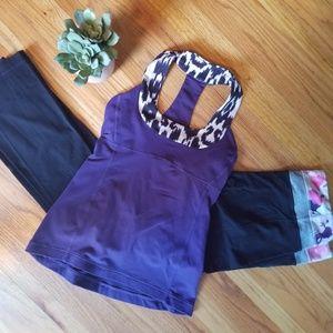 Lululemon Scoop Neck Purple/Animal Print Tank - 4